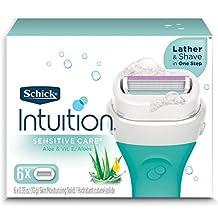 Schick Intuition Naturals Sensitive Care Womens Razor Refills with Vitamin E & Aloe, Pack of 6 Womens Razor Refills