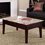 Faux Marble Solid Wood Construction Lift Top Expresso Coffee Table