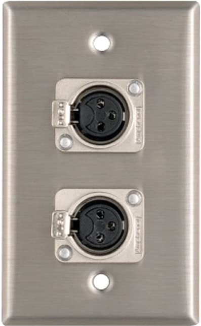 2 OSP Stainless Steel Duplex Wall Plates w//2 XLR Female Microphone Mic Connector