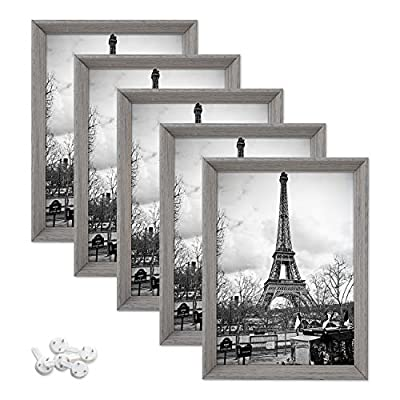 upsimples Picture Frame with Real Glass and Mat,Rustic Photo Frames for Wall or Tabletop Display,Set of 5