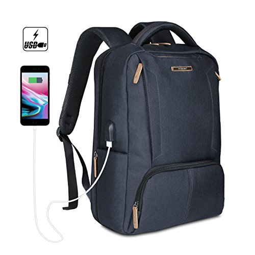Business Slim Durable Computer Backpack with USB Charging Port Anti Theft  Travel Laptop Backpack Water Resistant 3cf84005ddb30