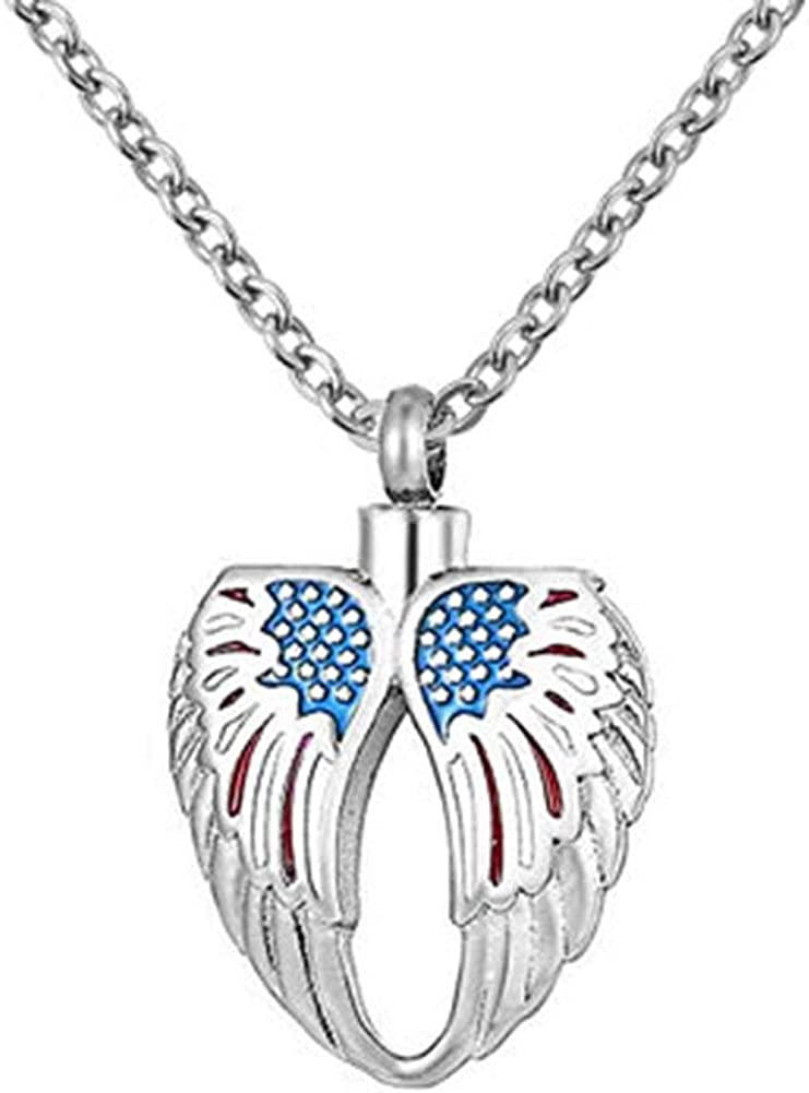 Angel Wing Round Cremation Jewelry Keepsake Memorial Ashes Urn Holder Necklace
