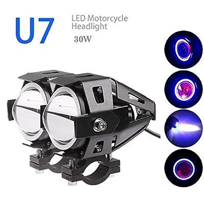 TURBO 2PCS Car Motorcycle LED Headlight CREE U7 LED Fog Lamp Front Spot Light DRL Spotlight Driving Daytime Lights Blue Halo