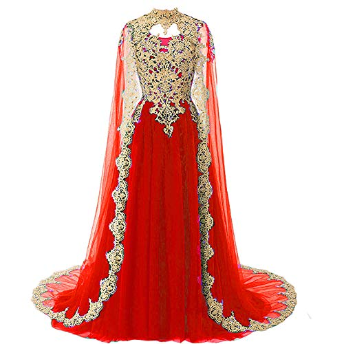 Gold Lace Vintage Long Prom Evening Dress Wedding Gown with Cape Red US 14