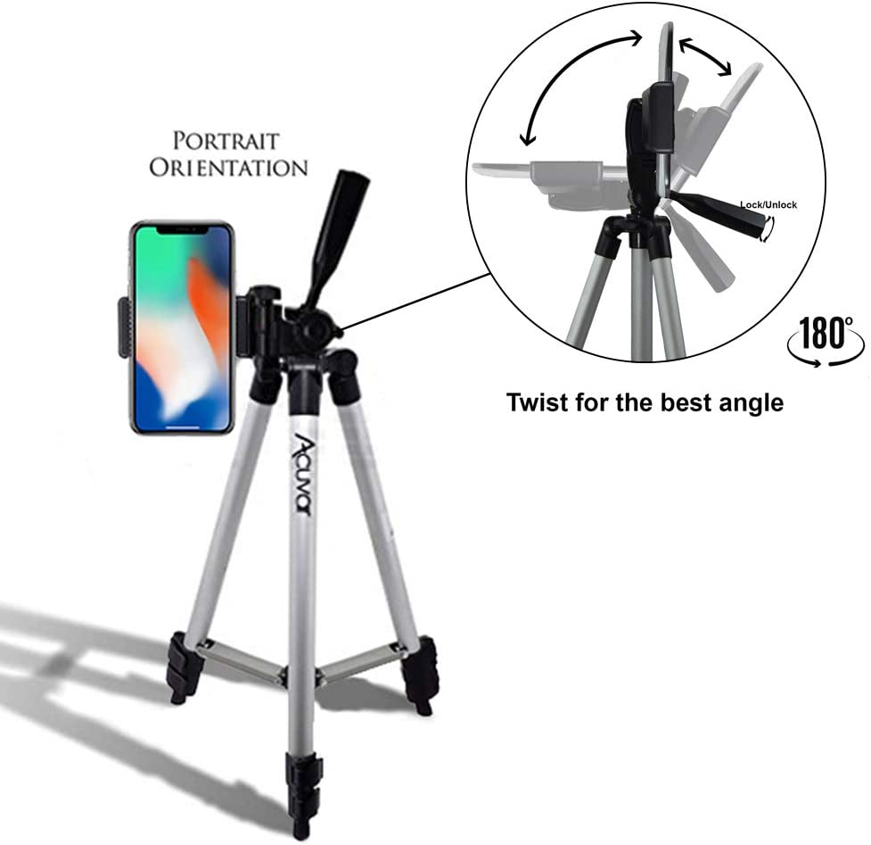 Acuvar 50 Inch Aluminum Camera Tripod with Universal Smartphone Mount 8 Pixel 3 X XL Xr Xs Wireless Remote Control Camera Shutter Max 11 Pro Max LED Selfie Light For iPhone 11 11 Pro 8+