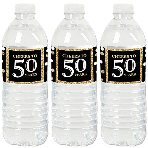 Adult 50th Birthday - Gold - Birthday Party Water Bottle Sticker Labels - Set of ()