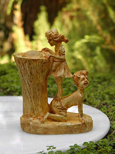Miniature Dollhouse Fairy Garden Girl & Boy Aged Drinking Fountain Statue by Miniature