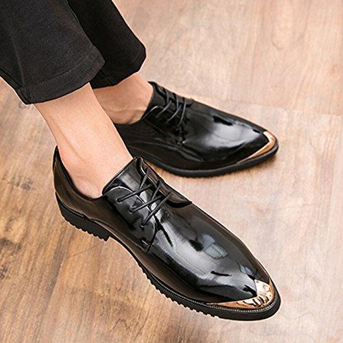 Para Zapato Punta Caballero Souy Cuero Con Trabajo De Negocios Vestir Hombre Black Hombres Formal Puntiagudo Boda Encaje dwdgBI
