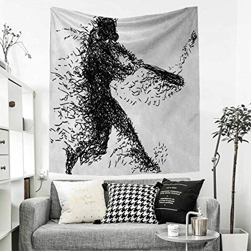 Baseball Player 3 Embroidery - RuppertTextile Black and White Wall Tapestry Abstract Artistic Illustration of a Baseball Player Posing Grunge Sports Home Decorations for Living Room Bedroom 54W x 84L INCH Black White
