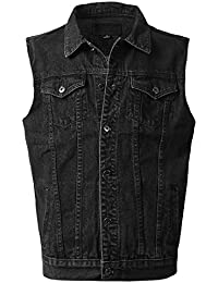 Mens Hipster Hip Hop Button-Down Sleeveless Denim Vest Jacket