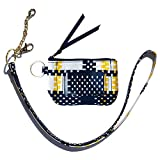 Lighten Up Zip id case Geometric Pattern Wallet Iconic Zip ID Coin Purse with Id Window Signature Cotton/Lanyard in Camofloral/Badge Neck Strap Lanyard Card Holder ID Case
