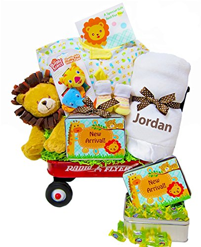 Personalized Welcome Wagon (New Arrival in the Jungle | Personalized Gender Neutral Baby Shower Gift Wagon)