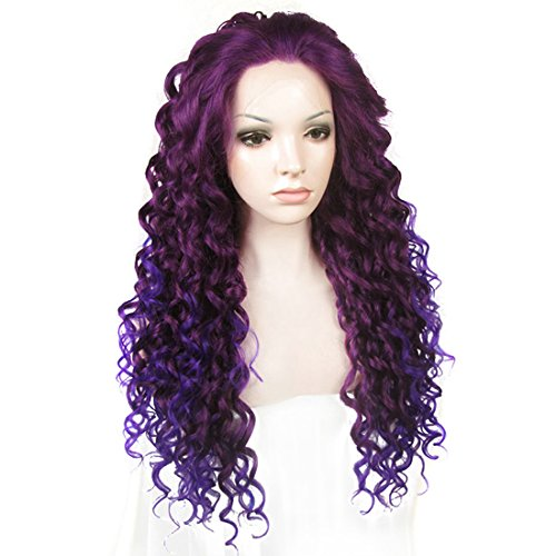Ebingoo Fashion Purple Ombre Lace Front Wig Long Curly Wavy Synthetic Lace Party Wigs Heat Resistant Fiber ()