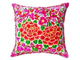 DollNUT Hmong Floral Pillow case Cushion Cover Throw Embroidered Thai Handmand Vintage Fabric for Sofa Living Bedroom Home Decor (pink-1)