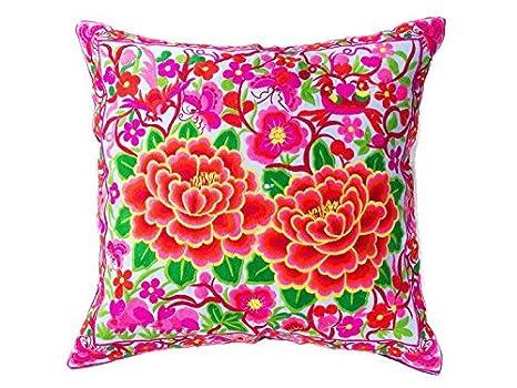 DollNUT Hmong - Funda de cojín con diseño floral bordado a ...