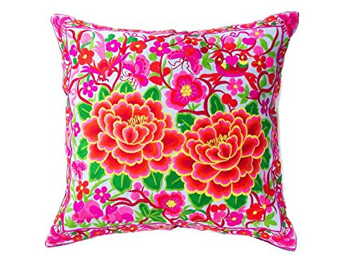 DollNUT Hmong Floral Pillow case Cushion Cover Throw Embroidered Thai Handmand Vintage Fabric for Sofa Living Bedroom Home Decor (pink-1) by DollNUT