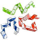 Neliblu Sensory Fidget Snake Cube Twist Puzzles - Stocking Stuffers - Bulk Pack of 3 Assorted Colors