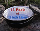 ": Disposable Foil Dutch Oven Liner, 12 Pack 12"" 6Q liners, No more Cleaning or seasoning, perfect accessory. Lodge, Camp Chef."