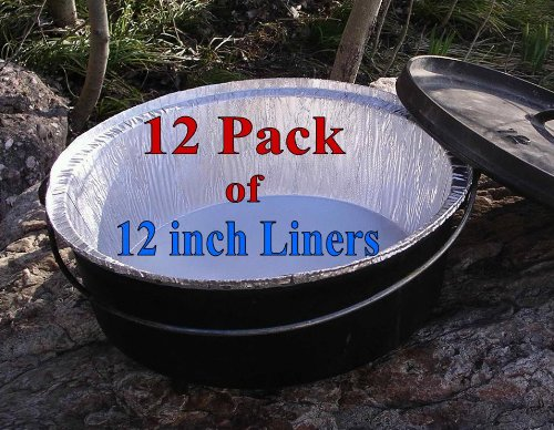"Campliner Disposable Foil Dutch Oven Liner, 12 Pack 12"" 6Q liners, No more Cleaning or seasoning, perfect accessory. Lodge, Camp Chef by CAMP LINER (Image #4)"