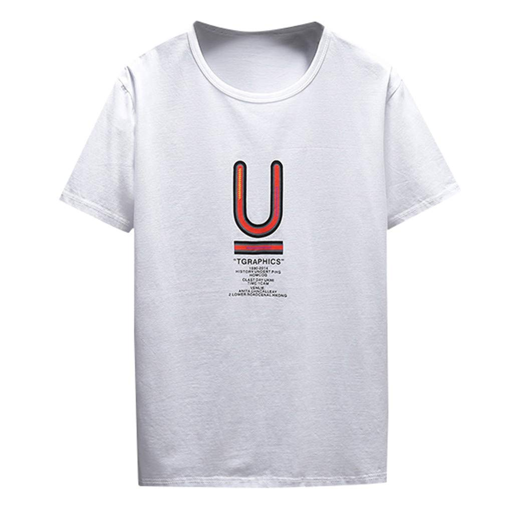 SKYLULU✿Mens Summer Solid Color Shirt Fashion Casual Comfort Print Short Sleeve T-Shirt Blouse Tops