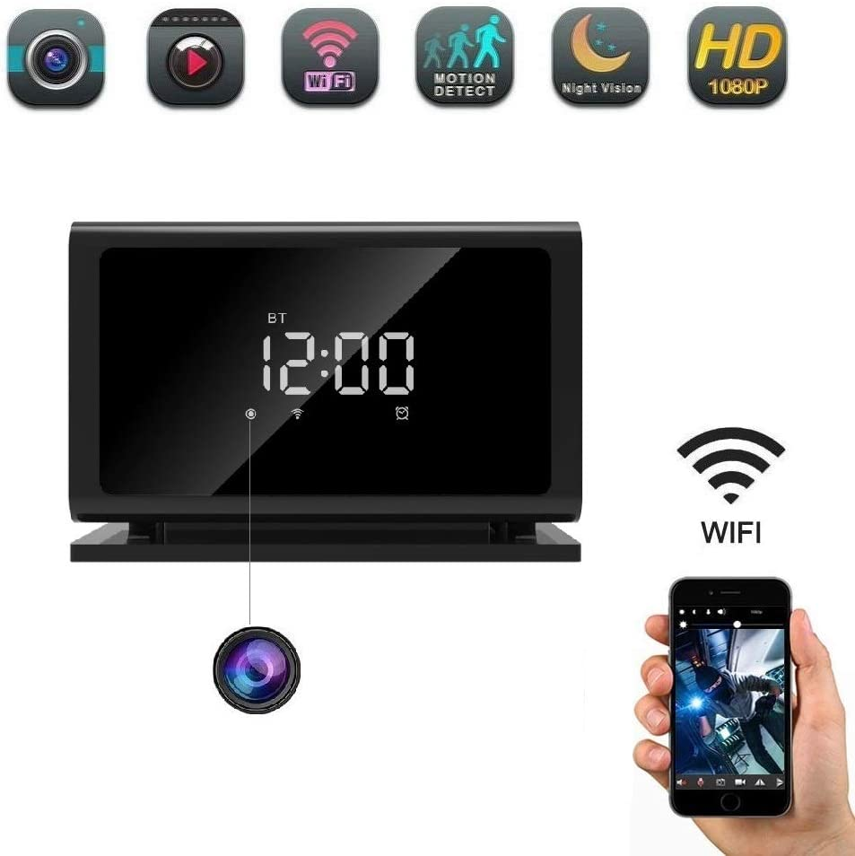 Hidden Camera Spy Camera Clock,Wireless Security Nanny Cam with 1080P Full HD Night Vision No Sound Recording WiFi Cell Phone App