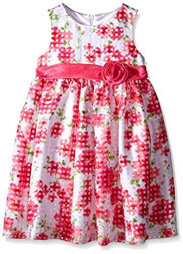 American Princess Little Girls' White/Pink Floral Shantung Dress, 5