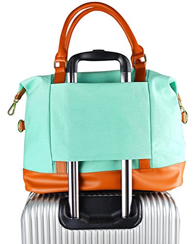 Women Ladies Canvas Travel Weekender Bag Overnight Carry-on Tote Shoulder Bag Duffel in Trolley Handle (Mint Green) (Bag Tote Suitcase Strap With)