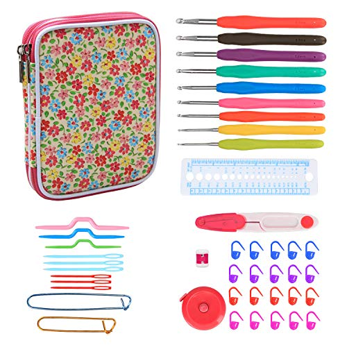 Teamoy Ergonomic Crochet Hooks Set, Crochet Accessories Set, Crochet Organizer Case with 9Pcs 2mm to 6mm Soft Grip Crochets for Arthritis Hands, Flowers Pink