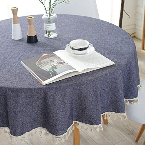Lahome Solid Color Tassel Tablecloth – Cotton Linen Round Table Cover Kitchen Dining Room Restaurant Party Decoration (Navy, Round – 60″)