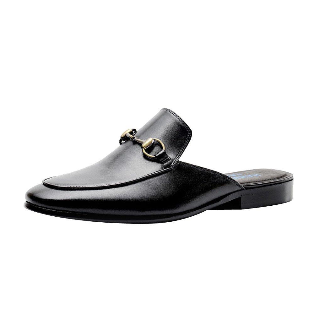 DHFUD Sandalias De Verano De Cuero Inglaterra Señaló Hebilla De Los Hombres Zapatillas 39 EU|Black