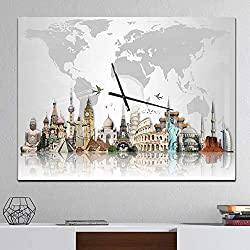 Design Art Designart 'Famous Monuments Across World' Large Industrial Wall Clock 40 in. Wide x 30 in. high