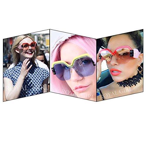 ROYAL GIRL Semi Rimless Sunglasses For Women Trendy Candy Color Fashion Designer Vintage Inspired Glasses (Purple-Blue, 57)