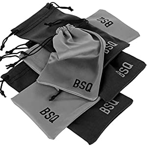 Microfiber Pouch 4 x 7.75 Inch (6 Pack) - Soft Cloth Storage Bag(s) for Eyeglasses, Sunglasses, Oakley Glasses, Jewelry, Electronic Gadgets, Mobile Cell Phone (iPhone, Samsung) - Black & Dark Grey