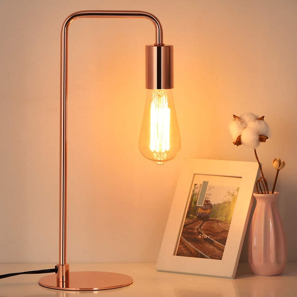 Edison Table Lamp, Industrial Nightstand Lamps, Small Rose Gold Metal Desk Lamp Suit for Bedside Dressers Coffee Table in Bedroom, Guest Room, Office