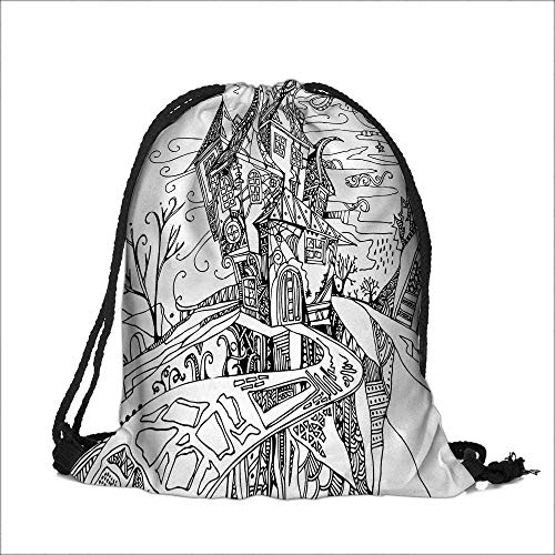Travel Drawstring Closure Bag Drawn Image of House Cartoon Like Witch Castle Halloween Themed Image Black and Gift Bag Pouches 15