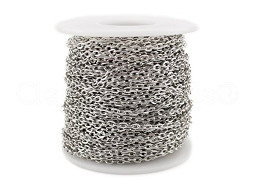 cleverdelights-rolo-chain-roll-30-feet-antique-silver-platinum-color-3x4mm-link-bulk-spool