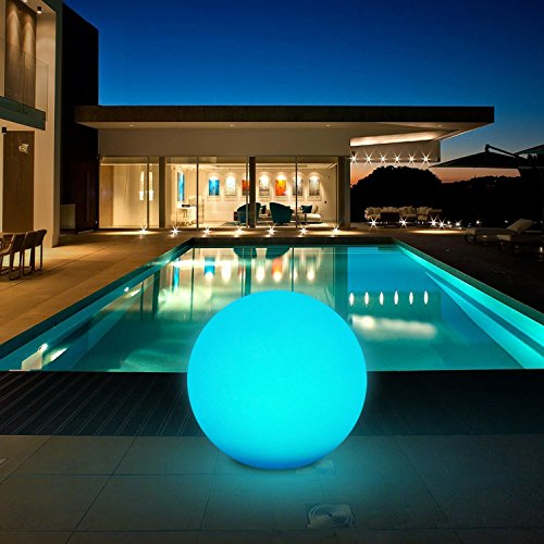 Tker Solar Light Ball Waterproof Floating 16RGB Solar Power Light 12-inch LED Color-changing with Remote Control Great for Night Light Party Pool Patio Ambient & Decorative Lighting by Tker