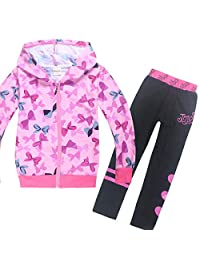 Wazonton JoJo Siwa Bomber Bow Jacket Set Casual Sweatshirt with Long Pants for Girls