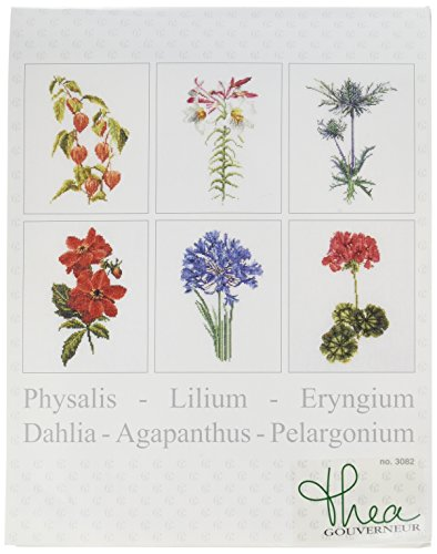 Thea Gouverneur 36 Count Counted Cross Stitch Kit, 6-3/4 by 8-Inch, Floral Studies 2 on Linen, Set of 6