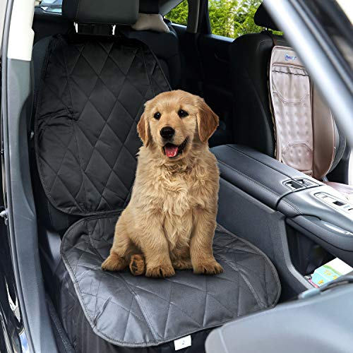 Dog Front Seat Cover - [Upgraded] Pet Auto Seat Cover with Extra Side Flaps, Nonslip Back Waterproof & Scratch Proof Best Car Seat Covers for Cars, SUV, Truck Front Seat Full Protector