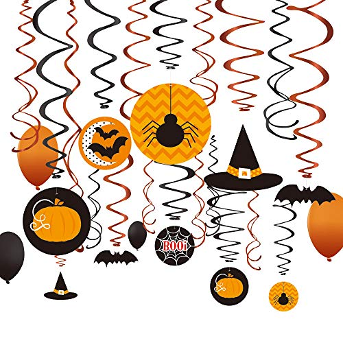 36Ct Halloween Party Witches Bats jack-o-lanterns Spider Decorations Ceiling Swirl Hanging Plus Balloons