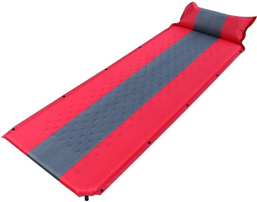 Shnnysany Selbstaufblasende Schlafmatratze Camping mit Blow Up Kissen, leichte aufblasbare Pad Schaum tragbare Luftmatratze Bett zum Wandern (Farbe   Rot, größe   L)