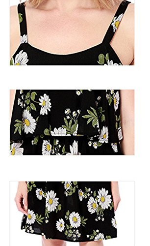 V Abito Cocktail Maniche Senza Vita Nota Vestiti Vestito Stampa Donne Donna Runant Donna Nero Musica A Fiori In Vestito Elegante Collo Elegante PIngwHqA