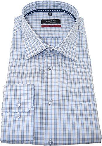 Seidensticker Herren Hemd modernfit beiges Karohemd langarm Kent Tape mit Tasche Kollektion Size 44