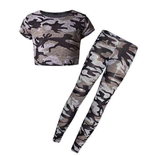 New Kids Girls Tween Knitted Fabric Camouflage Military Leggings Tops Sets and Individual Age 7-13 Years (7-8 year, Legging Top (Tween Leggings)