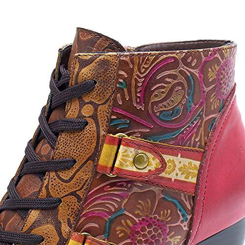 per scarpe tacchi invernali motivo pelle boemo stivali in casual sinistra e caldi donna alti Stivaletti destra XqOdXx
