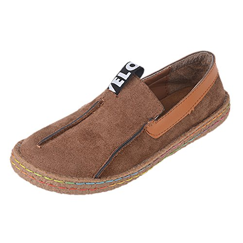 fereshte Women's Frosted Leather Casual Loafers Maternity Slip-on Moccasins Driving Flat Shoes Dark Brown EU38-US Size 7