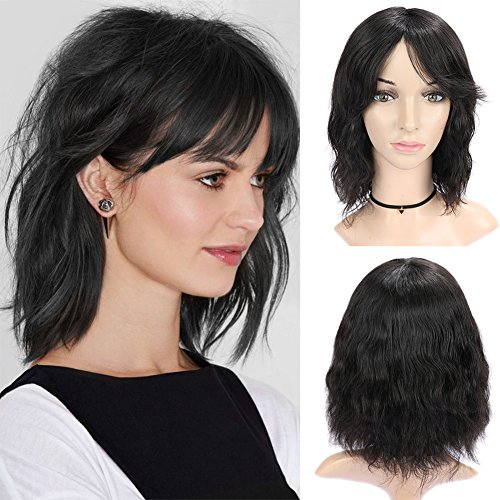 WIGNEE 100% Virgin Human Hair Natural Wave Wigs with Bangs Brazilian Human Hair Wave Wigs Natural Black Color (Wave Hair Wig)
