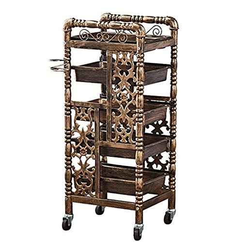 lon Trolley - Hair Salon 5-Layer Hairstyle Rack Tool Cabinet (Color : Brass) ()
