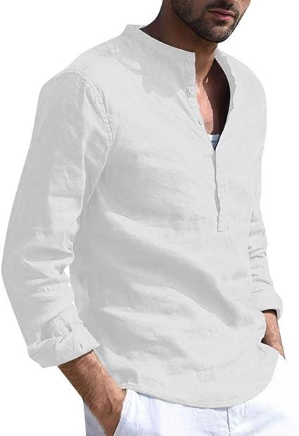 Moda Camisa Manga Corto Hombre, Camiseta Tops Hombres Blusa Holgada De Lino Y AlgodóN De Manga Larga para Hombre Camisetas Retro Tops Blusa: Amazon.es: Ropa y accesorios